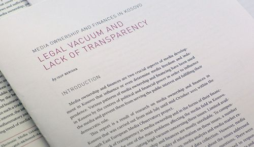 Media integrity report: Media ownership and financing in Kosovo